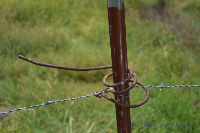 fence post, a good place for an iron hay rake tine to turn to rust