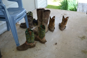 mud dries on boots