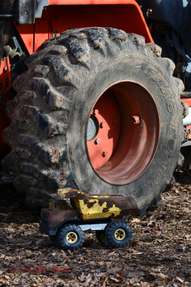 Backhoe tire, little truck